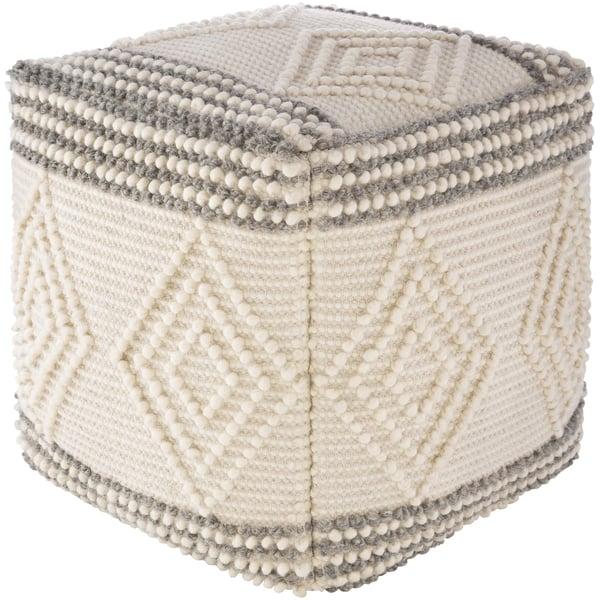 Charcoal, White (HGPF-003) Moroccan Poufs