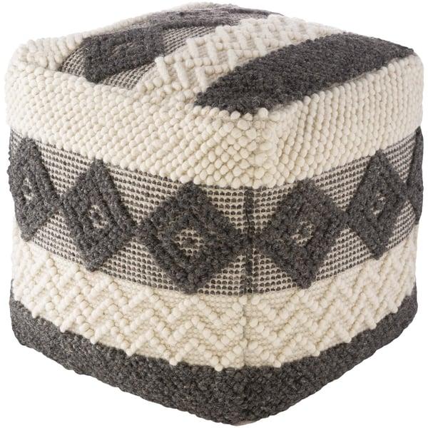 Charcoal, White (HGPF-005) Moroccan poufs