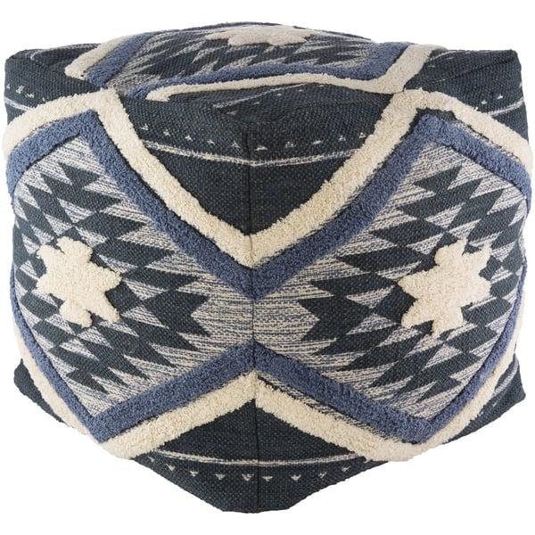 Denim, Cream, Pale Blue (LHPF-002) Southwestern poufs