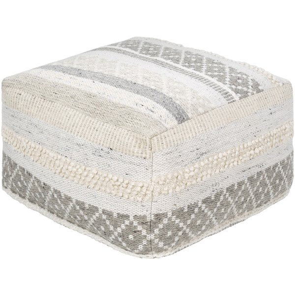 Taupe, White, Ivory (LRPF-003) Moroccan Poufs