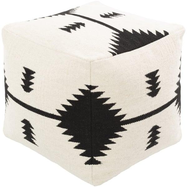 Cream, Black (SOPF-001) Southwestern poufs
