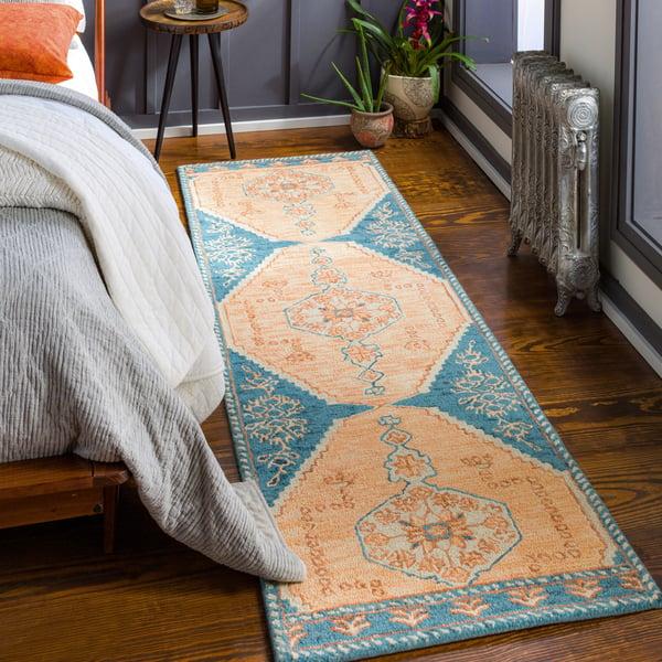 Peach, Camel, Blue (URF-2301) Bohemian Area Rug