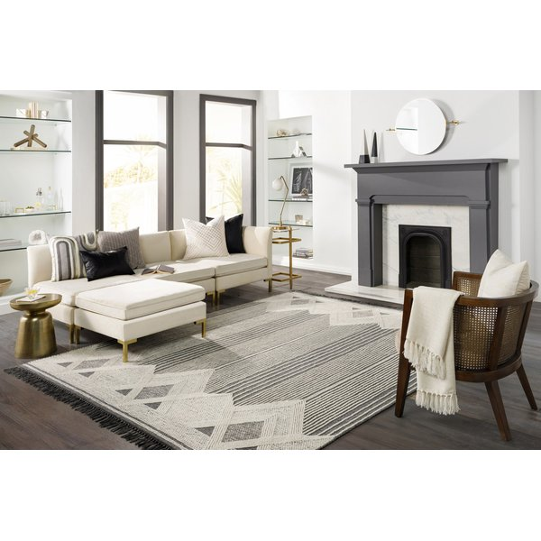 Charcoal, Ivory, Medium Grey (CHE-1001) Contemporary / Modern Area Rug