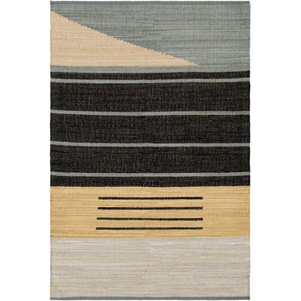Black, Wheat, Teal (FUM-1001) Contemporary / Modern Area Rug