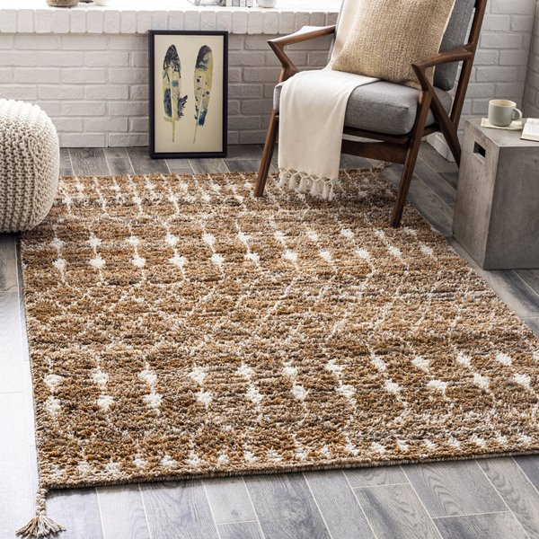 Camel, Dark Brown, Charcoal (BHC-2300) Moroccan Area Rug