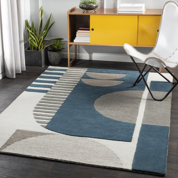 Teal, Khaki, Charcoal (BRO-2303) Contemporary / Modern Area Rug