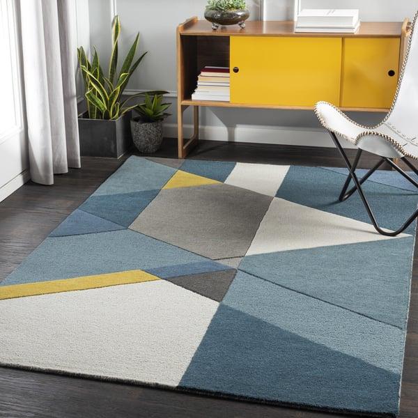 Bright Yellow, Teal, Khaki (BRO-2306) Contemporary / Modern Area-Rugs