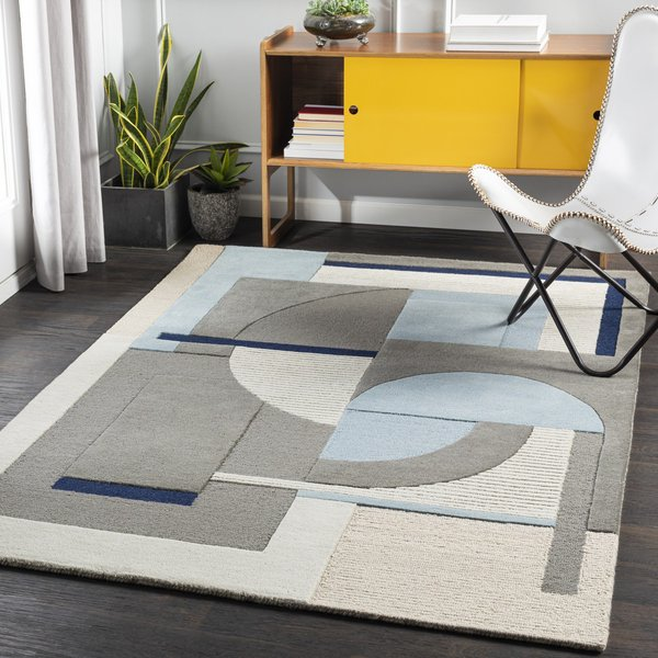 Aqua, Taupe, Khaki (BRO-2302) Contemporary / Modern Area Rug