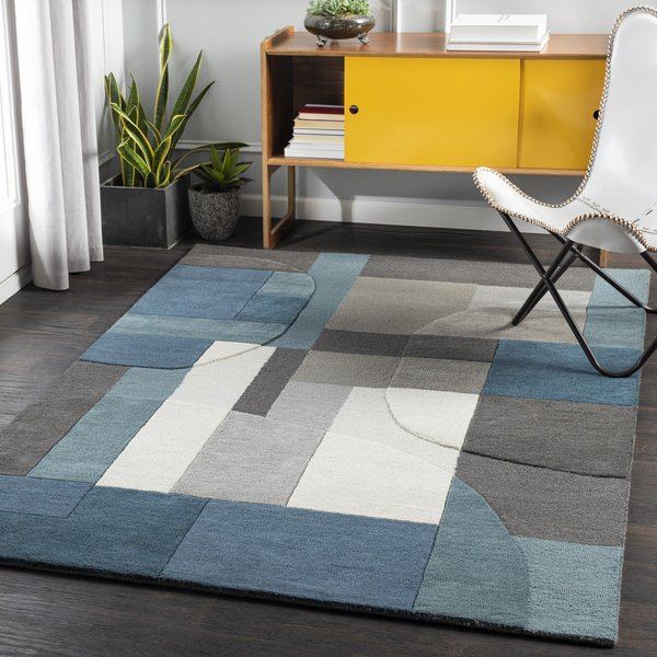 Teal, Bright Blue, Khaki (BRO-2301) Contemporary / Modern Area Rug