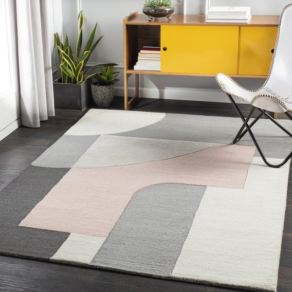 Pale Pink, Taupe, Charcoal (BRO-2308) Contemporary / Modern Area Rug