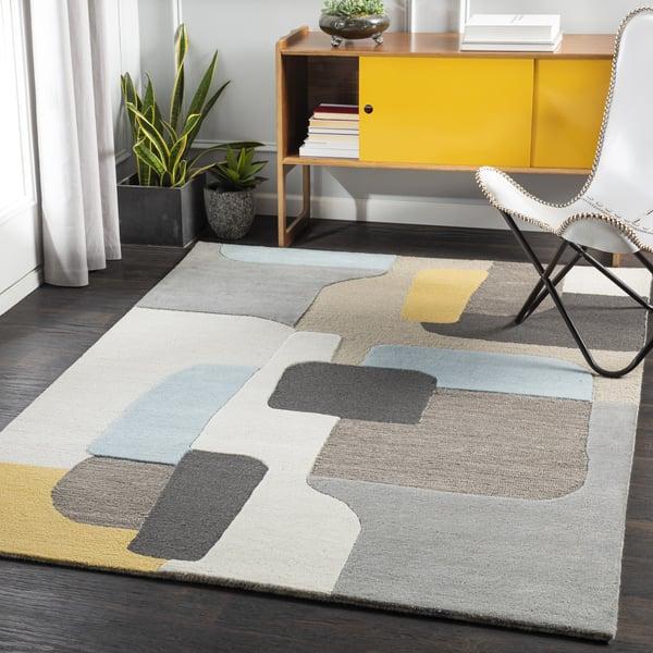 Bright Yellow, Taupe, Khaki (BRO-2300) Contemporary / Modern Area Rug