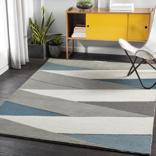 Teal, Khaki, Charcoal (BRO-2307) Contemporary / Modern Area Rug