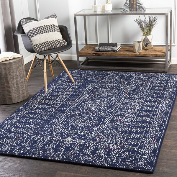 Navy, Cream, Pale Pink (CFU-2304) Bohemian Area Rug
