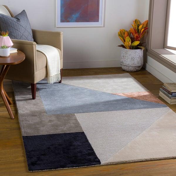 Medium Grey, Light Grey, Denim (GLS-2307) Contemporary / Modern Area Rug