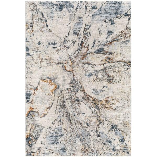 Teal, Burnt Orange, Saffron (LAA-2316) Abstract Area Rug