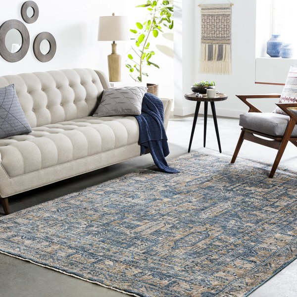 Navy, Denim, Cream (MBE-2301) Traditional / Oriental Area Rug