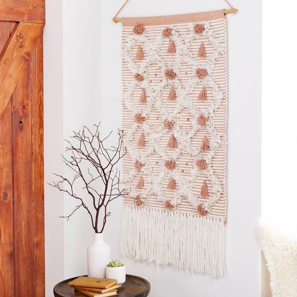 White, Peach (KAR-1000) Bohemian Wall-Hangings