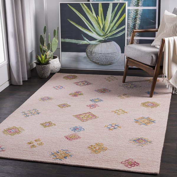 Pale Pink, Bright Blue, Bright Yellow (SAR-2302) Bohemian Area-Rugs