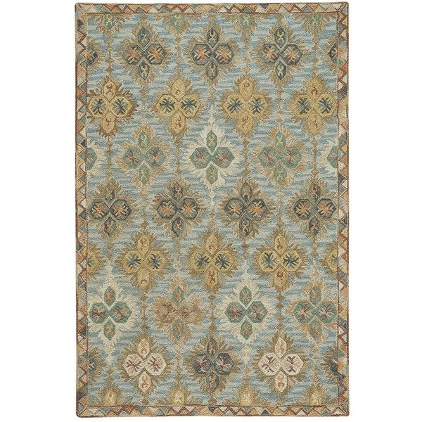 Blue, Beige, Red (2566-900) Contemporary / Modern Area Rug