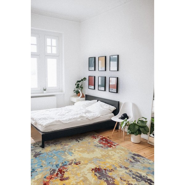 Honey Yellow Abstract Area-Rugs