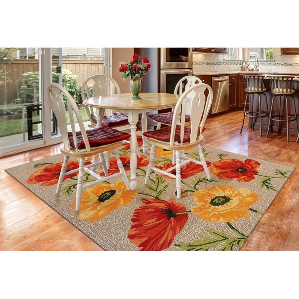 Neutral, Red (2272-12) Floral / Botanical Area-Rugs