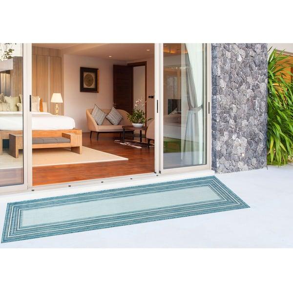 Aqua Contemporary / Modern Area Rug