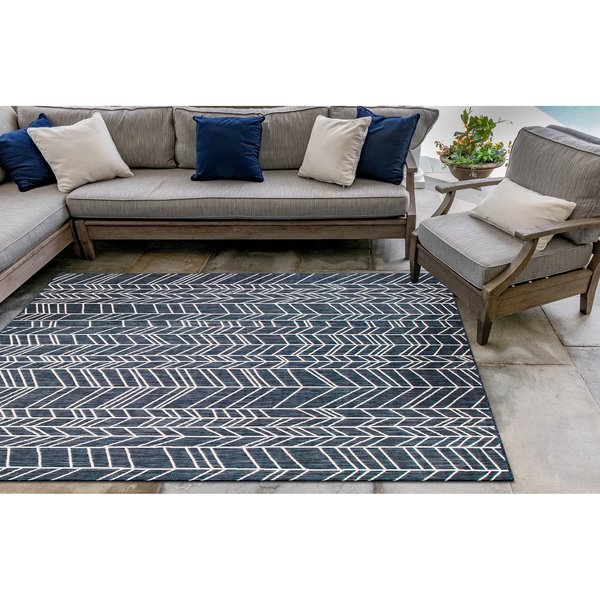 Navy, Ivory (33) Contemporary / Modern Area Rug