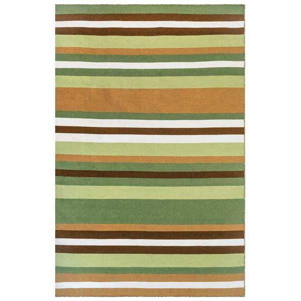 Fern, Green (6301-26) Striped Area Rug