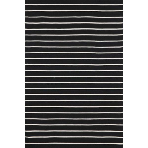Black (6305-48) Striped Area Rug