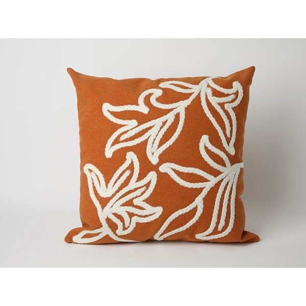 Orange, White (3076-17) Floral / Botanical pillow