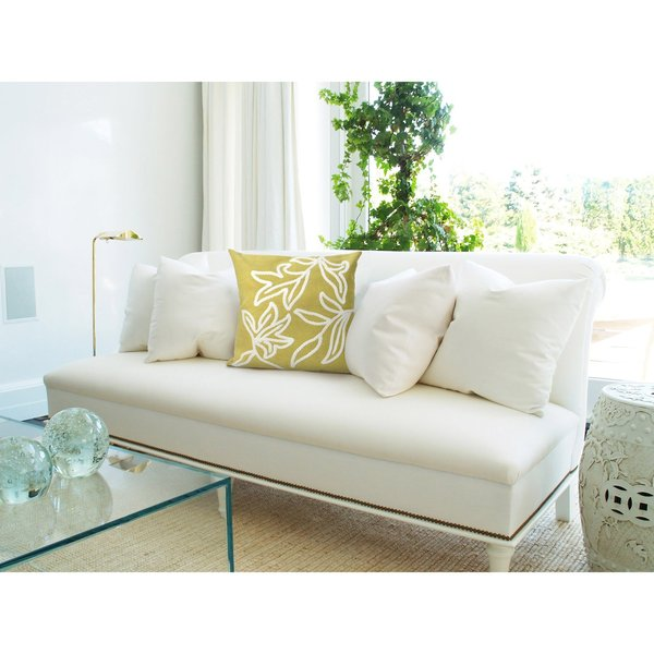 Lime, White (3076-06) Floral / Botanical pillow