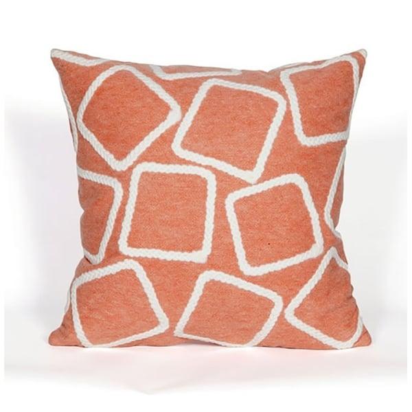Coral, White (4087-17) Geometric pillow