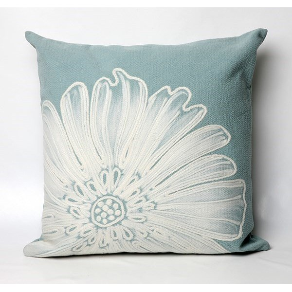 Aqua, White (3190-04) Floral / Botanical pillow