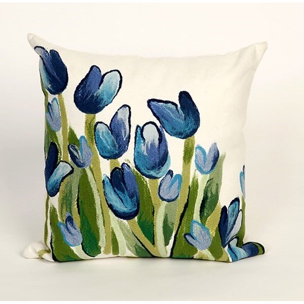 Blue, Green, White (4134-03) Floral / Botanical pillow