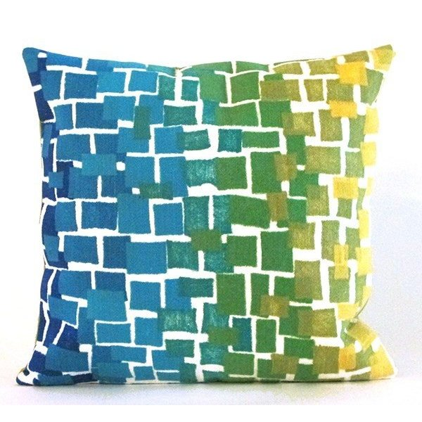 Blue, Green, White, Yellow (4159-06) Abstract pillow