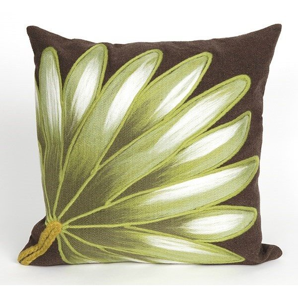 Chocolate, Green, White (4168-19) Floral / Botanical pillow