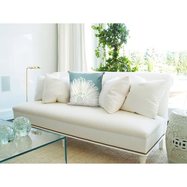 Aqua, White (3190-04) Floral / Botanical Pillow