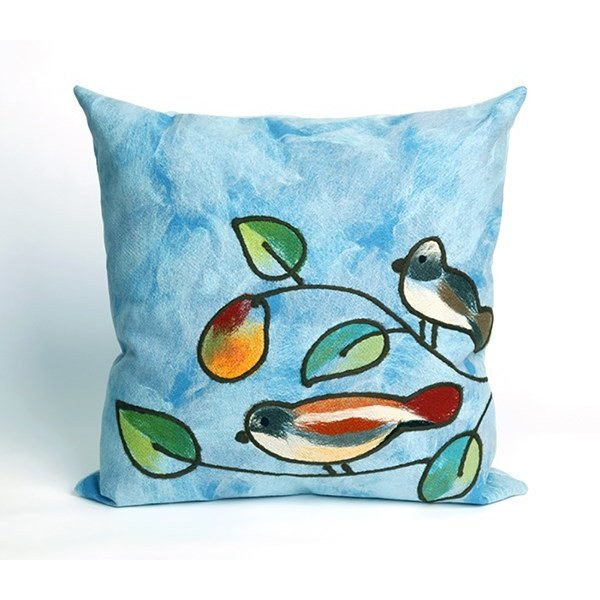Blue, Green, Orange (4119-03) Floral / Botanical pillow