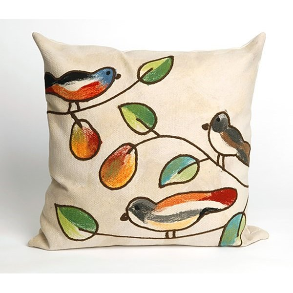 Cream, Green, Orange (4119-12) Floral / Botanical pillow