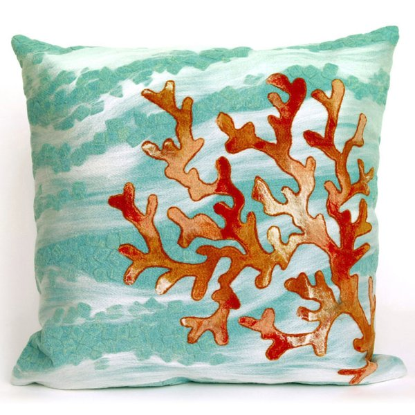 Blue, Ivory, Orange (4158-04) Beach / Nautical pillow