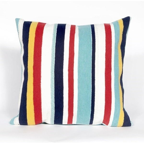Blue, Red, White, Yellow (4187-44) Striped pillow