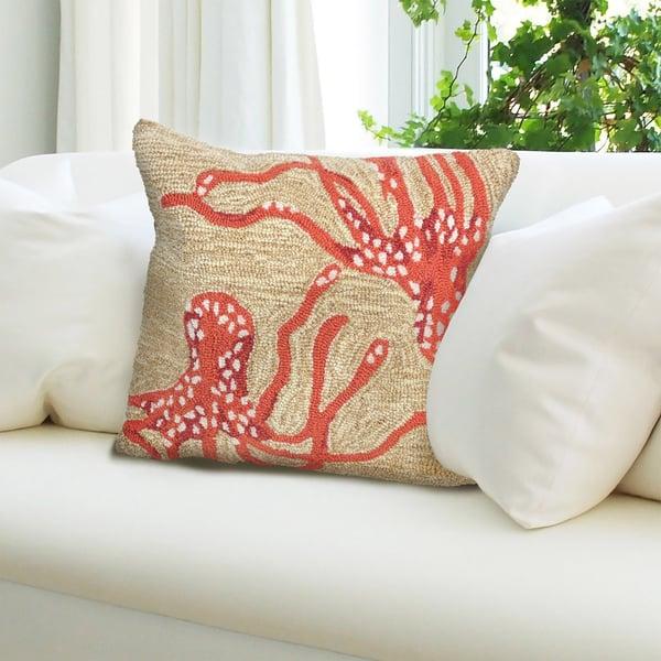 Orange, Ivory (1677-17) Beach / Nautical pillow