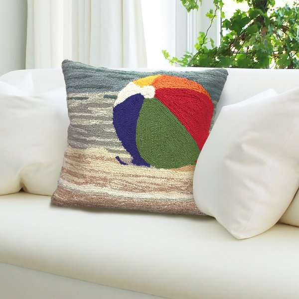 Blue, Green, Natural, Orange (1516-12) Beach / Nautical pillow