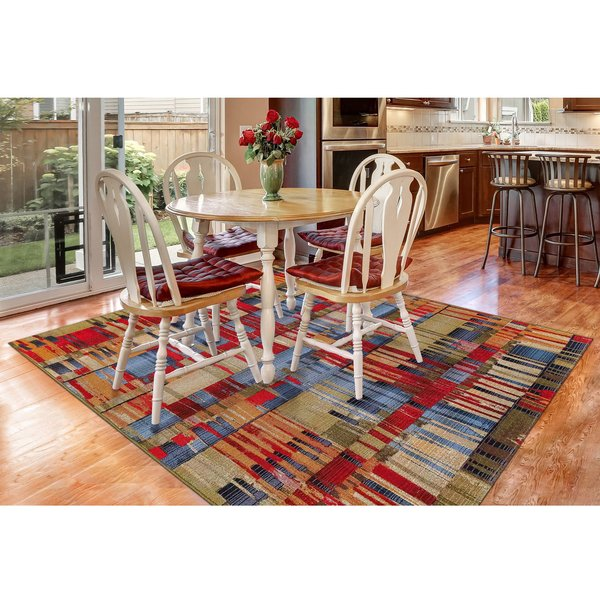 Red (8036-44) Abstract Area Rug