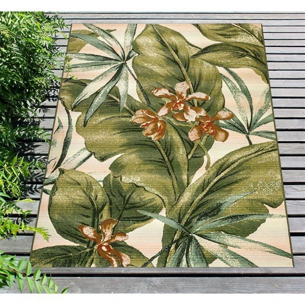 Cream, Green (8064-12) Floral / Botanical Area Rug