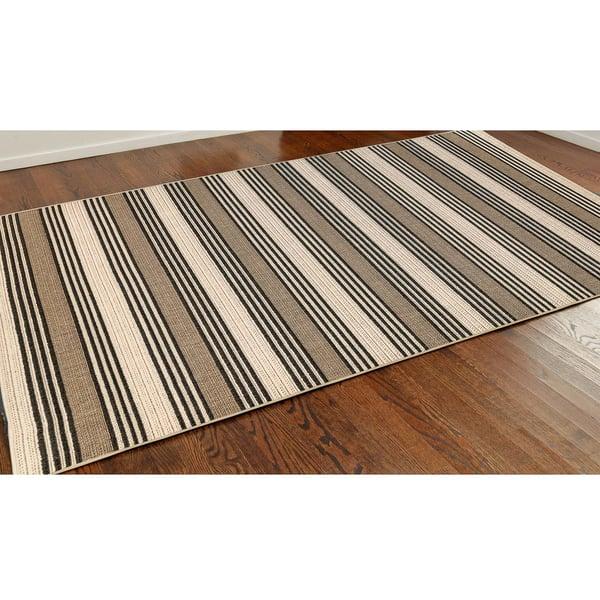 Tan (7640-12) Striped Area Rug