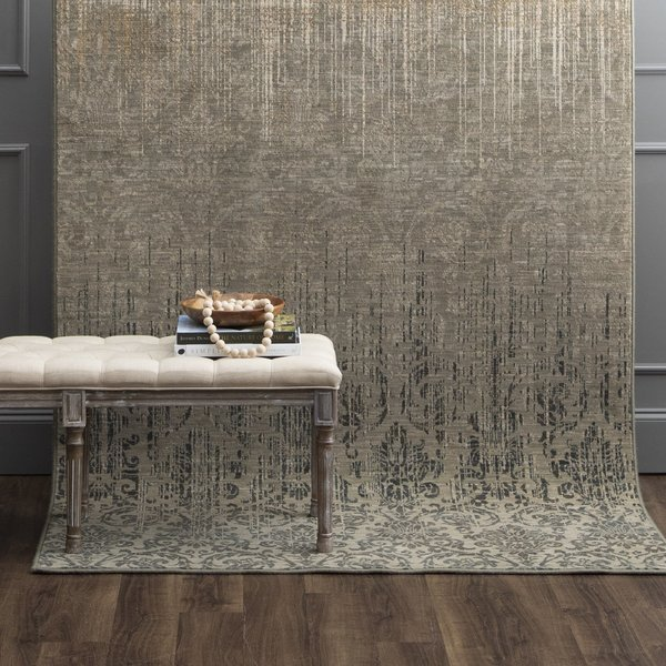 Gray, Tan, Ivory (16009) Vintage / Overdyed Area Rug