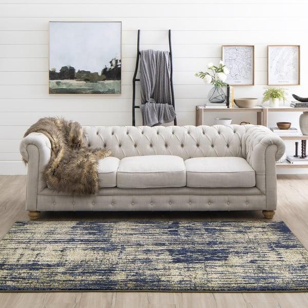 Periwinkle, Indigo, Antique White (91221-50134) Contemporary / Modern Area Rug