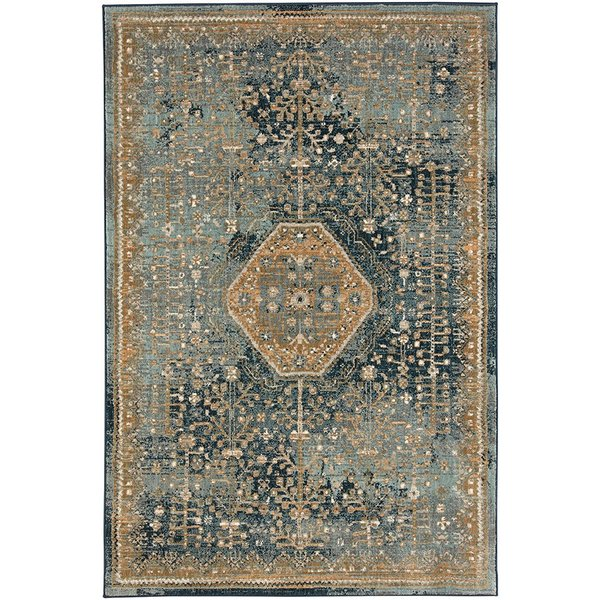 Blue, Teal (90940-50133) Vintage / Overdyed Area Rug