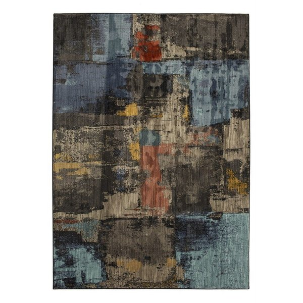 Blue, Brown (Multi) Abstract Area-Rugs
